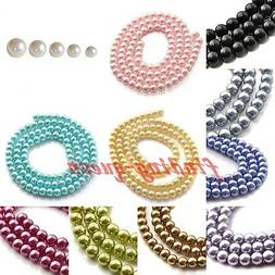 1 Strand 4/6/8/10/12mm Faux Loose Round Glass Pearl Spacer B