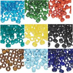 100 Glass Crow Pony Beads 9 x 7MM With 3- 4mm Large Hole