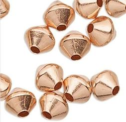 100 Solid Copper 3mm Bicone Spacer Beads