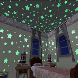 100pcs 3D Star Wall Stickers Decal Glow In The Dark Baby Kid
