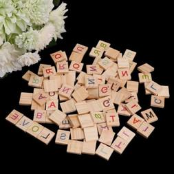 100pcs Wooden Scrabble Tiles Colorful Letters Numbers For Wo