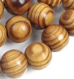 """10mm Natural Wood Round Rocaille Beads 16"""""""