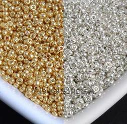 1200Pcs gold and silver Czech Glass Seed Spacer Beads For Je