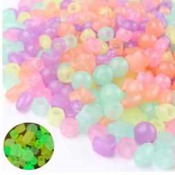 150+ Glow in the Dark Acrylic Mix Color Heart Star Round Bea