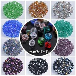 200pcs 3mm Bicone Faceted Crystal Glass Loose Spacer Beads l