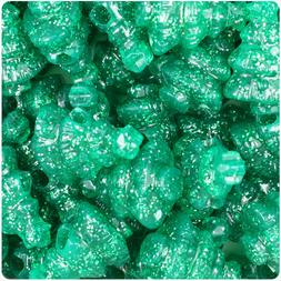 24 Emerald Green Sparkle 25mm Christmas Tree Pony Beads Made