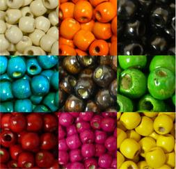 24 pack Macrame & Craft Wood Beads 11x12mm 5mm to 6mm Large