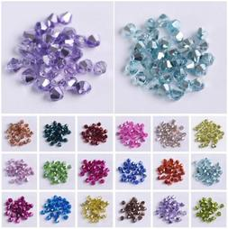 3mm 4mm 6mm Half Plated Bicone Faceted Crystal Glass Loose S