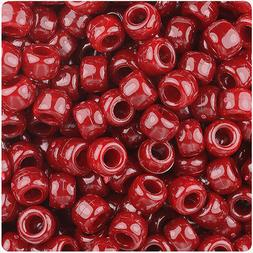 500 Cranberry Red Marbled 9x6mm Barrel Pony Beads Made in th