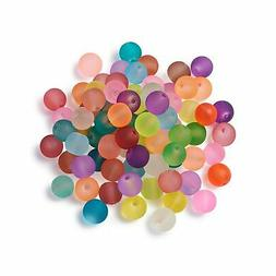 Craftdady 500Pcs 8mm Transparent Frosted Glass Beads Tiny Cr