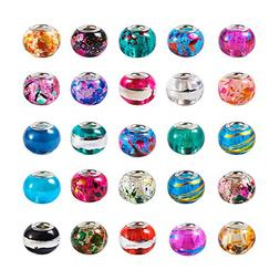 Craftdady 50Pcs Large Hole Glass European Spacer Beads 13-15