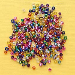 600 Glass Beads Silver Lined Seed Bead Mix 3mm x 3.5mm Multi