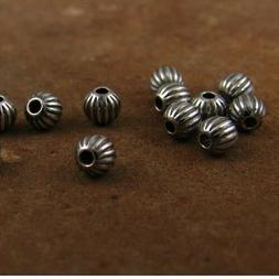 .925 STERLING SILVER 4mm ROUND CORRUGATED OXIDIZED BEADS #68