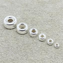 925 Sterling Silver Donut Tire Beads 3mm 4mm 5mm 6mm 8mm 10m