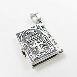 925 Sterling Silver Lord's Prayer Holy Bible Open Pages Lock
