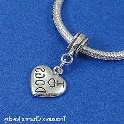 925 Sterling Silver Love Dogs Heart Dangle Bead Charm - fits