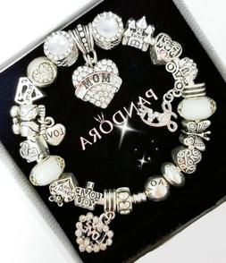 Authentic Pandora Bracelet Silver Bangle with Love Wife Mom
