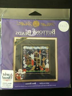 """Buttons and Beads """"Boo House"""" Cross Stitch Chart Kit Sealed"""