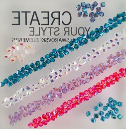Swarovski® Crystal 4mm Bicone Beads -  AB 2X Colors and Coa