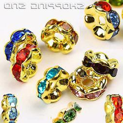 RUBYCA Czech Crystal Gold Wavy Rondelle Spacer Charms Metal