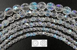 Czech Fire Polished Round Faceted Glass Beads, Crystal AB, c