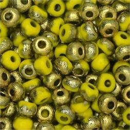 Czech Glass, Bohemian Aged 5/0 Round Seed Beads, 10g, Etched