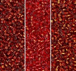 Miyuki Delica Seed Beads Size 11/0 Silver Lined Fire Collect