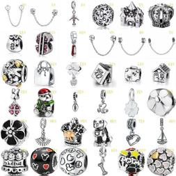 European Silver Charms Beads Pendant Safety Chain Fit 925 st