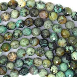 """Faceted African Turquoise Round Beads 15.5"""" Strand 4mm 6mm 8"""