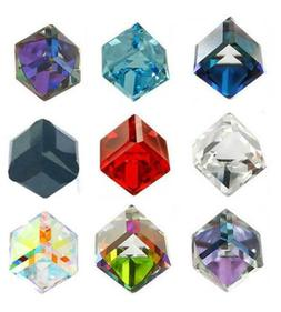 Hot 100Pcs 4mm AB Color Crystal Beads Square Cube Beads Jewe