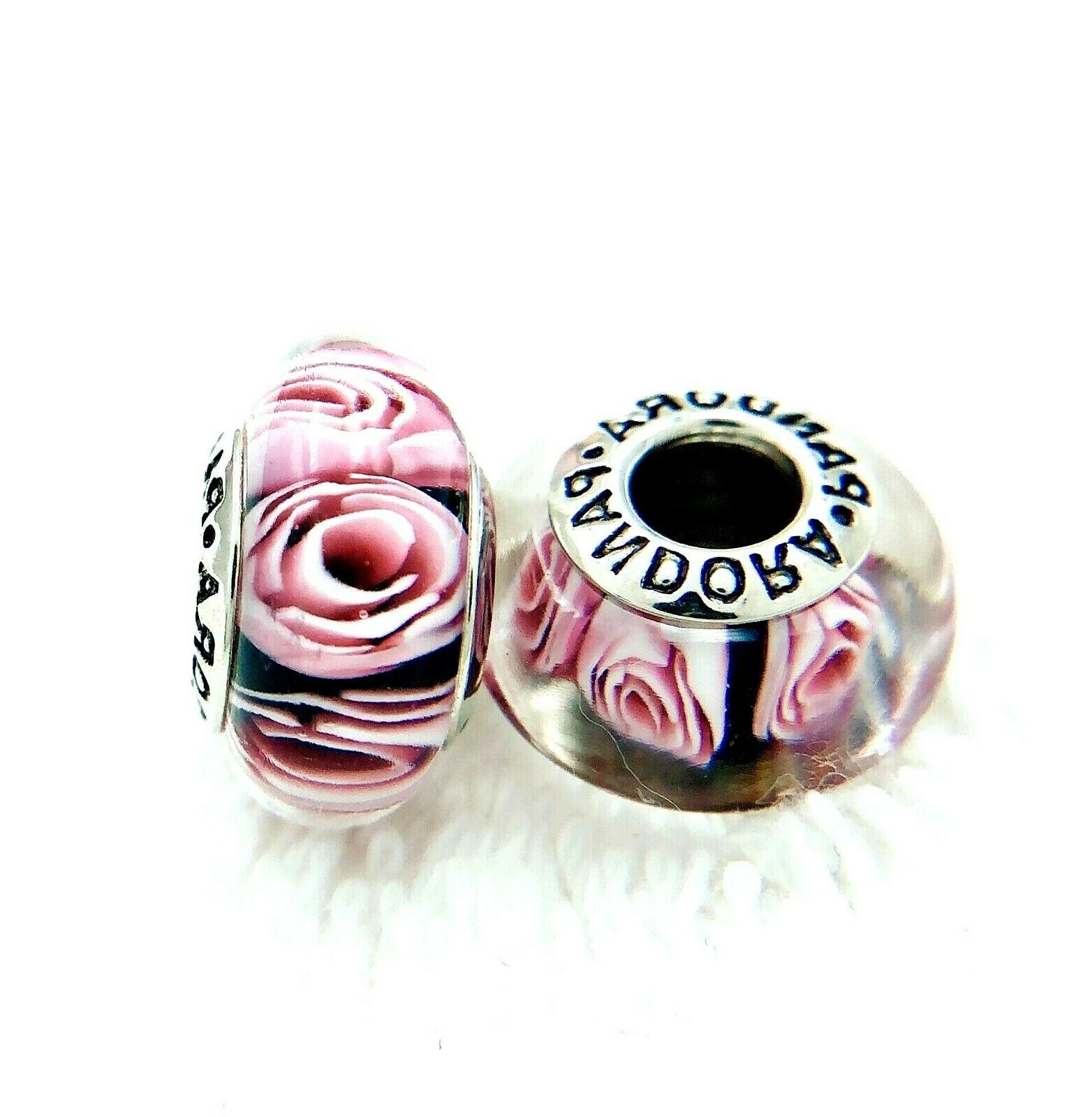 2 Silver ALE Murano Charm Pink Rose Beads
