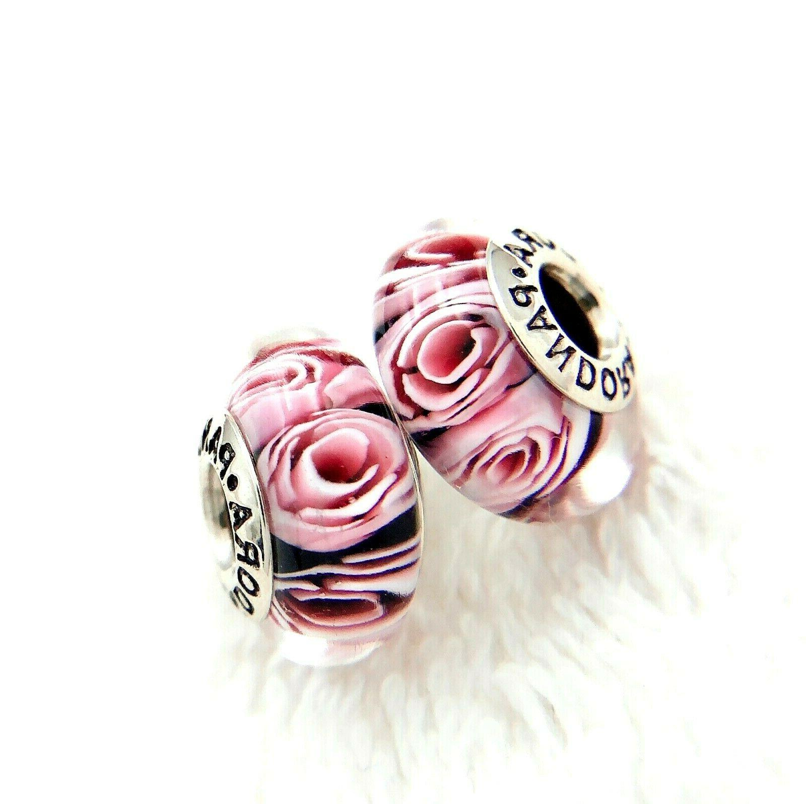2 silver 925 ale murano charm pink
