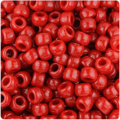 500 red opaque 9x6mm barrel pony beads