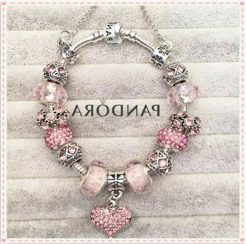 Authentic Pandora Charm Bracelet Silver Pink LOVE HEART with