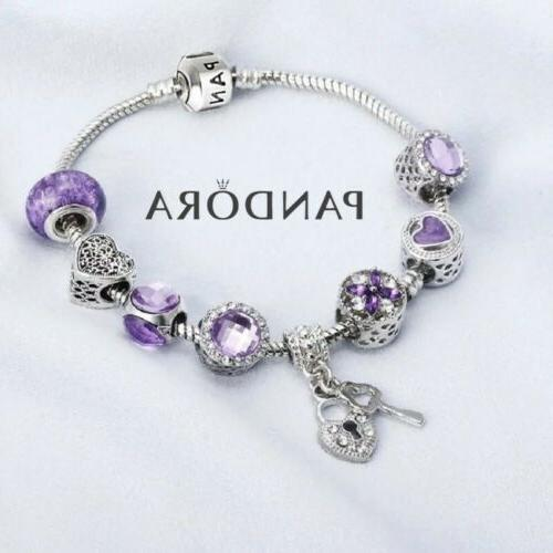 Authentic Silver Purple with Charms