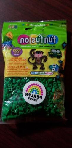 Green PERLER Fun Fusion Fuse Beads 1000 ct Solid Colors , gr
