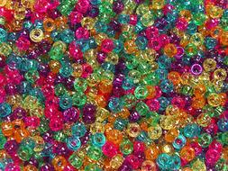Multi Jelly Colors Sparkle Mini Pony Beads made in USA 1000p