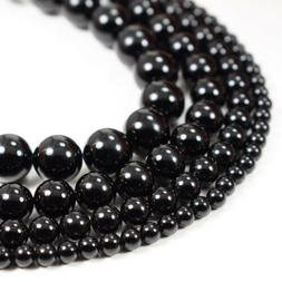 """Natural Black Onyx Beads Round Smooth 15"""" Strand Loose 4mm"""