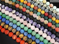 Natural Matte Frosted Gemstone Round Loose Beads 15'' 4mm 6m