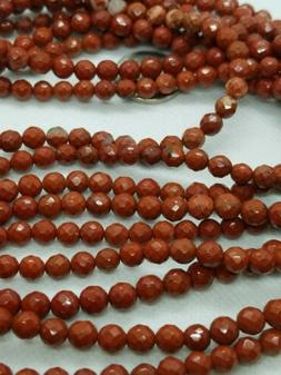 """Natural Red Jasper Gemstone Faceted Round Beads 15.5"""""""