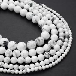Natural White Howlite Beads 4mm 6mm 8mm 10mm 12mm Round 15.5