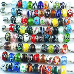 Silver Color Murano Glass Beads Fit European Charm Bracelet