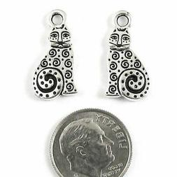Silver Spiral Cat Charms, TierraCast Pewter Animal, Kitty