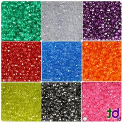 BeadTin Transparent 6mm Faceted Round Craft Beads  - Color c