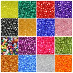 BeadTin Transparent 8mm Faceted Round Craft Beads  - Color c