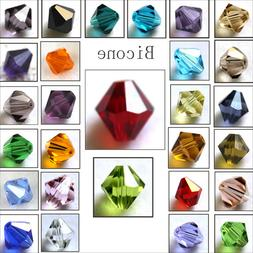 Wholesale Crystal Glass Bicone Faceted Loose Spacer Beads 4m
