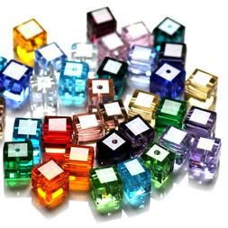Wholesale Cube Crystal Glass Loose Beads Fot Jewelry DIY Mak